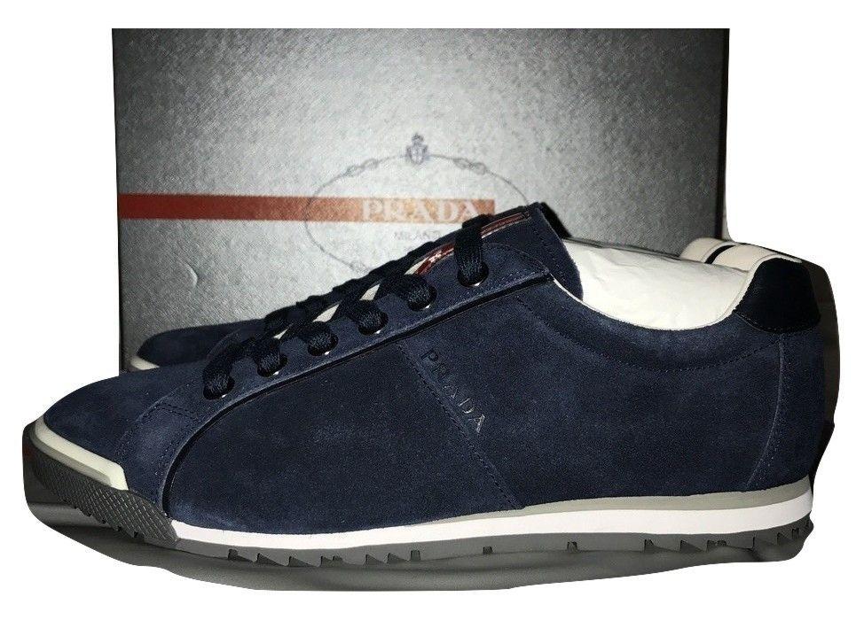 50f44b16 Mens Prada Blue Suede Casual Sneakers Style 4E2719 Size 8 | Ebay ...