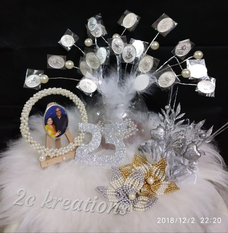 Silver Coins Bouquet For 25th Wedding Anniversary 25 Wedding