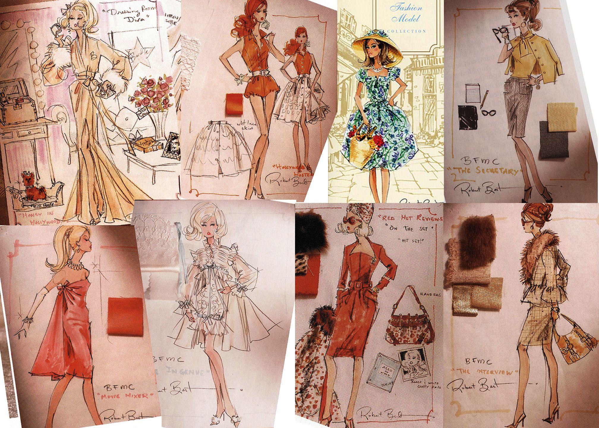 Vintage Fashion Sketches Sketches For Barbie Designs By Robert Best Fashion Illustration Vintage Fashion Sketches Fashion Drawing