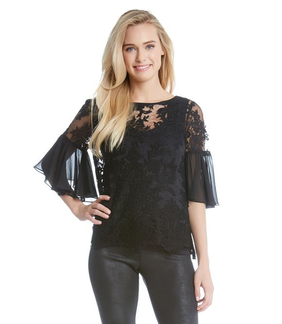 742365a5173b0 Karen Kane Flare Sleeve Lace Top
