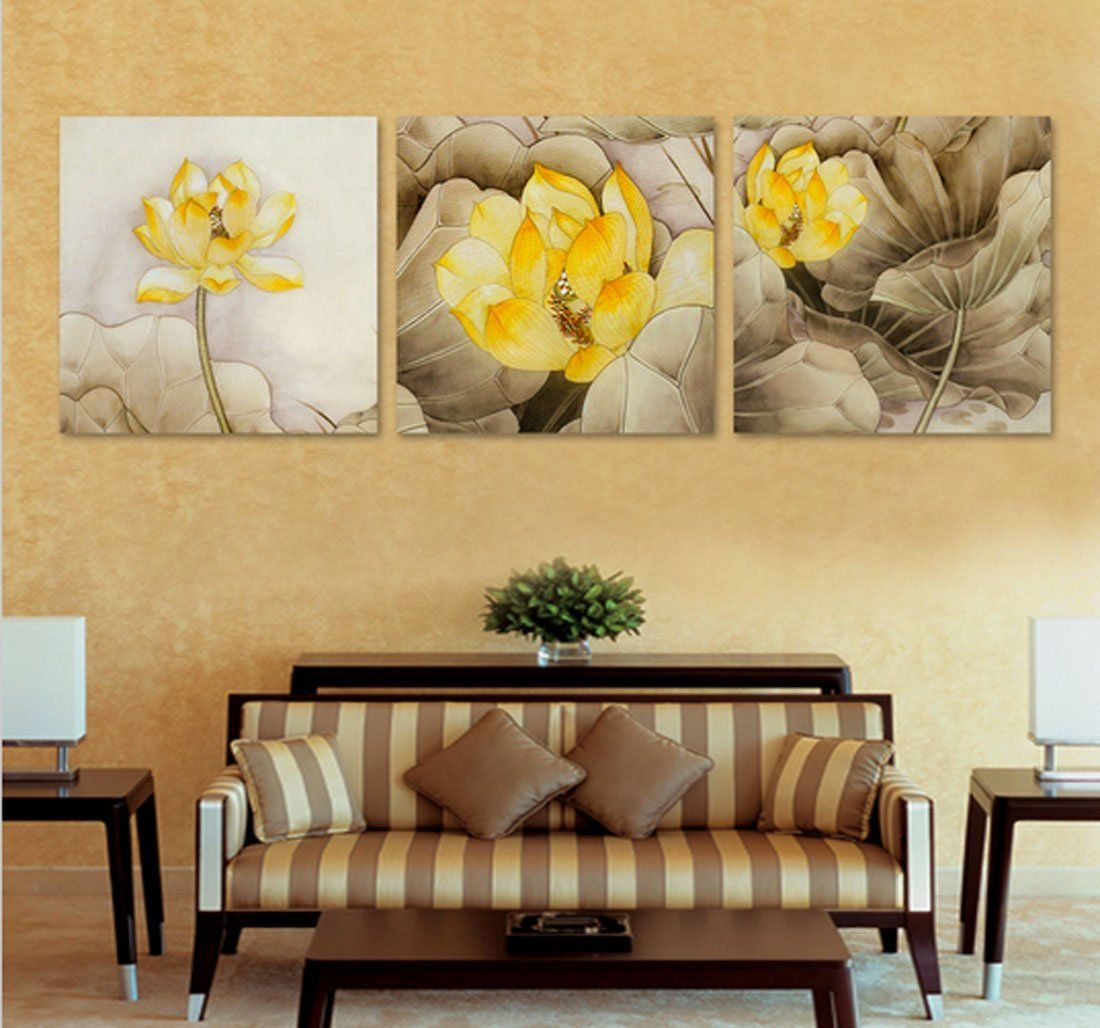living room art prints%0A   Panel modern wall art home decoration frameless oil painting canvas prints  pictures abstract golden lotus flower paintings China  Mainland