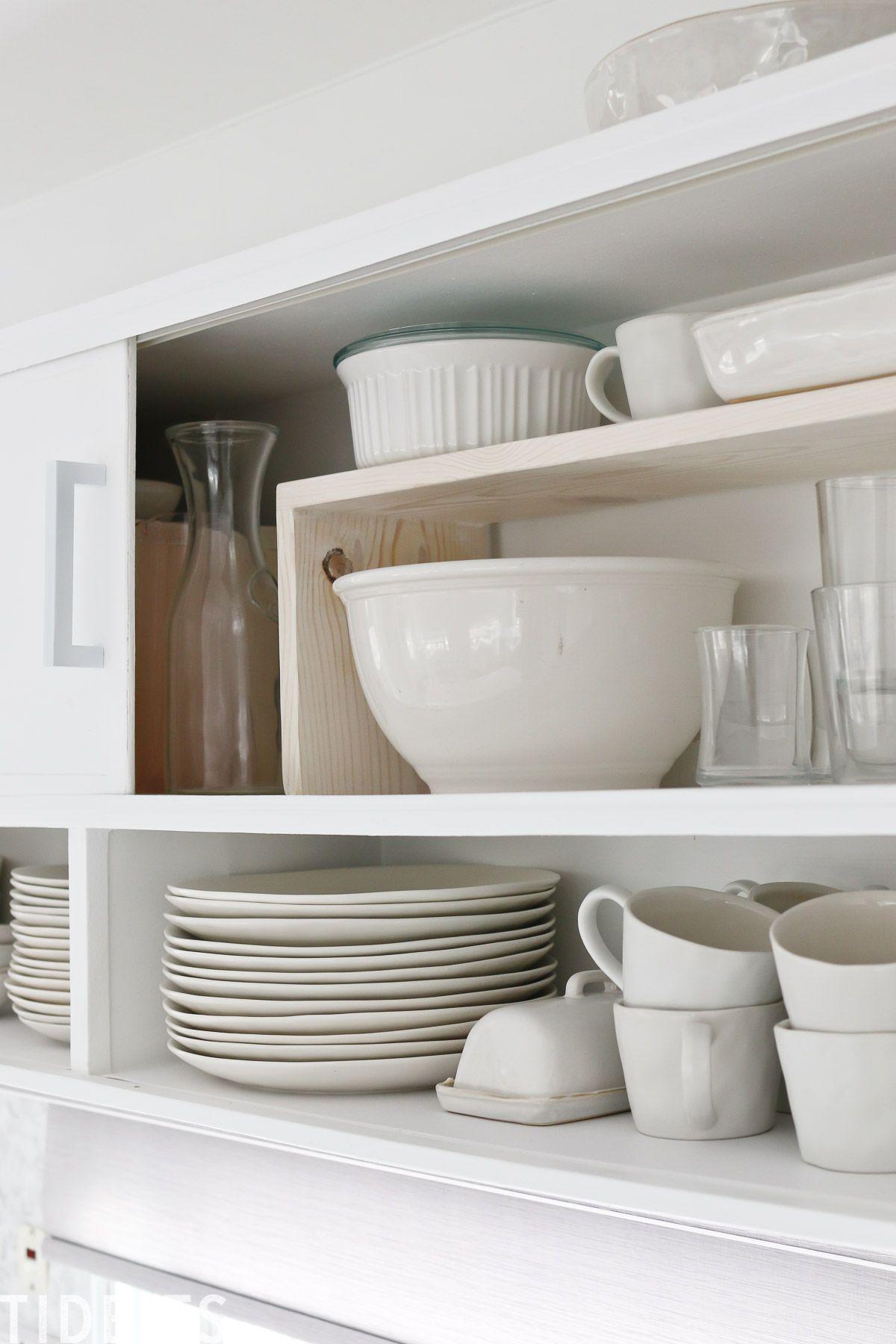 Easy Diy Cabinet Shelf Risers Tidbits Diy Cabinets Easy Diy Custom Size Cabinets