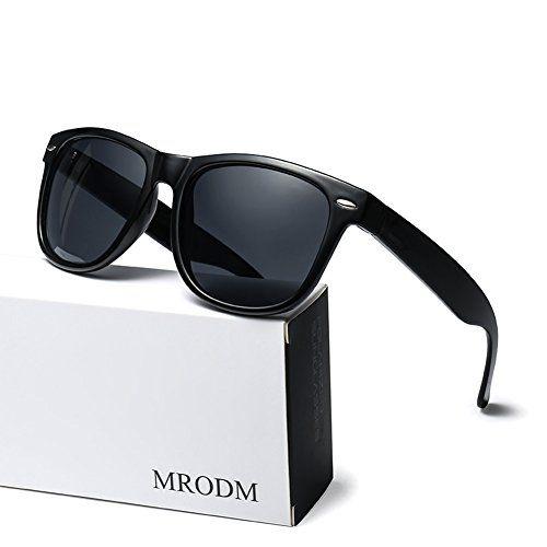 d05df57ba1 MRODM Polarized Sunglasses for Men Women Mirror Lens UV Protection Black  Large 55mm Polarized Sunglasses