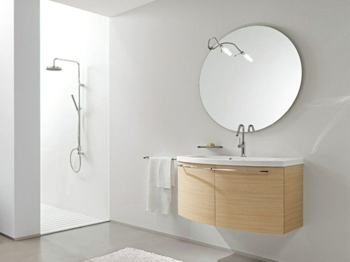 Redoutable miroir rond pour salle de bain d coration fran aise bathroom mirror lights - Miroir rond salle de bain ...
