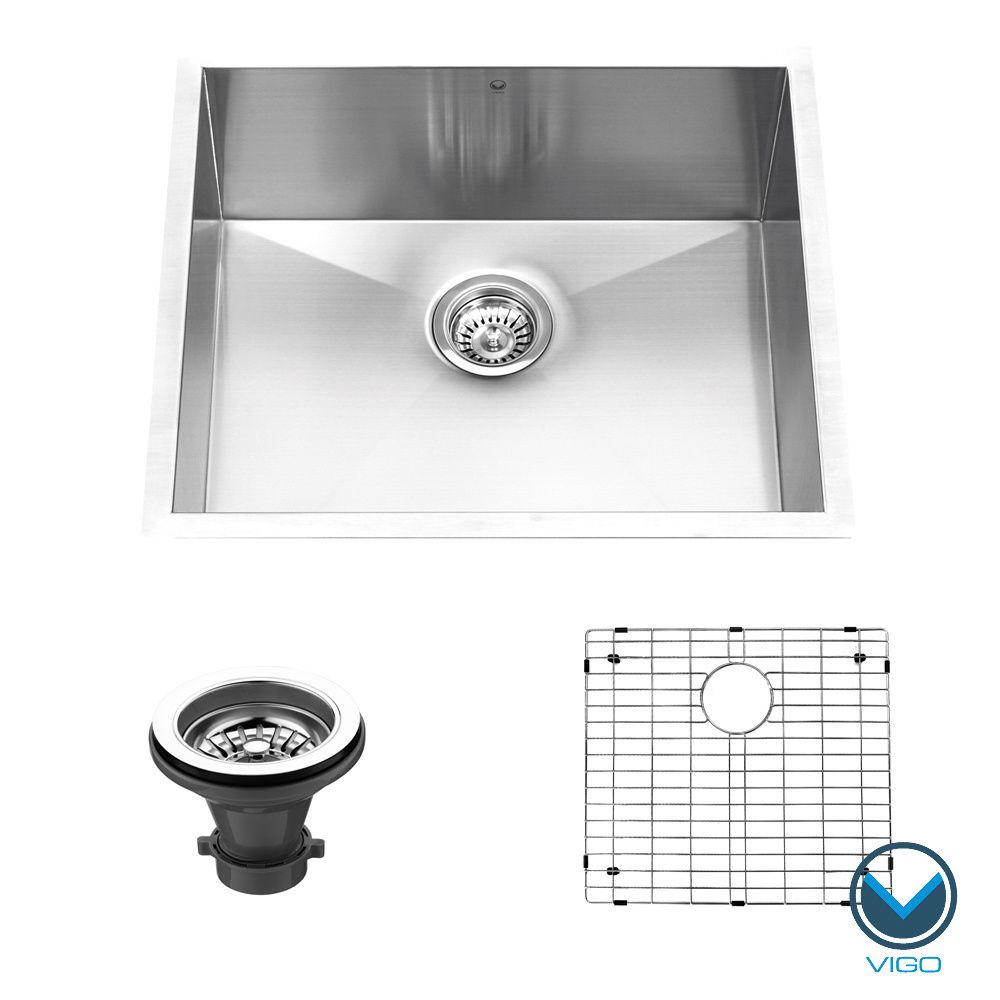 The Vigo undermount kitchen sink features a single-bowl design with ...