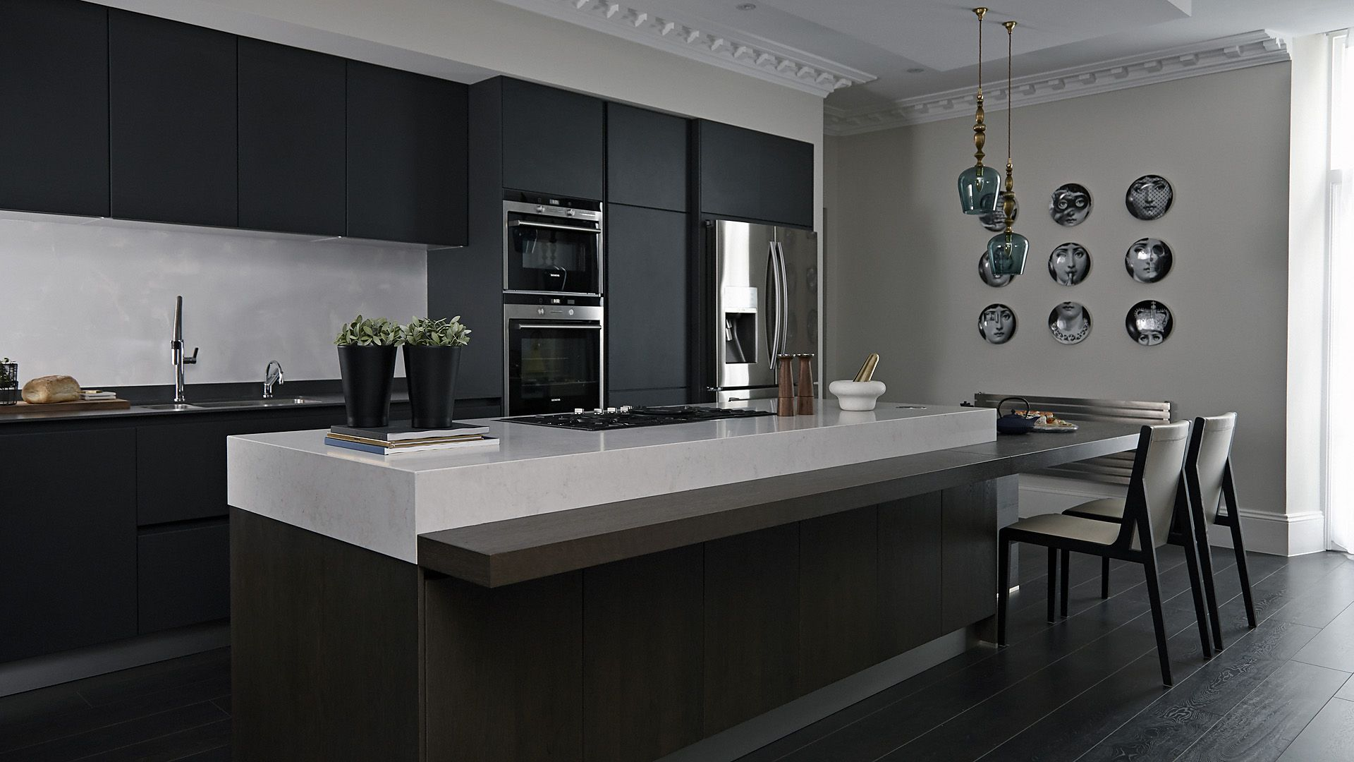 Interior Designed Kitchens Marble Work Surface In Black And Chrome Luxury Kitchen  14