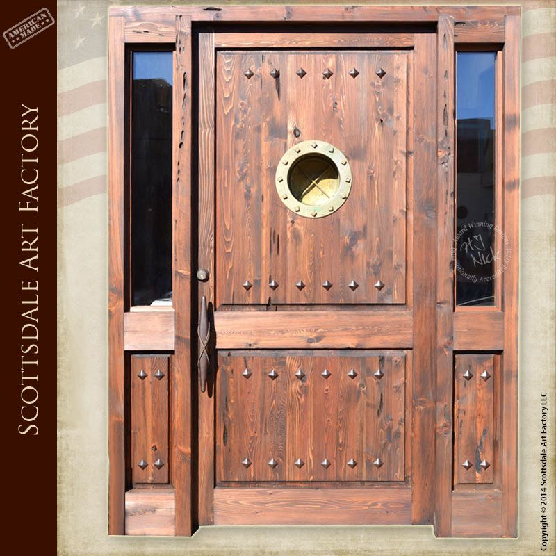 Nautical marine inspired doors - custom wood doors features a genuine portal window from the USS Mispillion and hand crafted nautical mooring designed door ... & Nautical marine inspired doors - custom wood doors features a ...