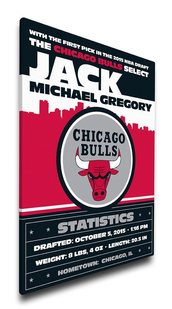Nursery decor personalised baby birth announcement canvas and chicago bulls personalized baby announcement gift chicago bulls birth negle Images