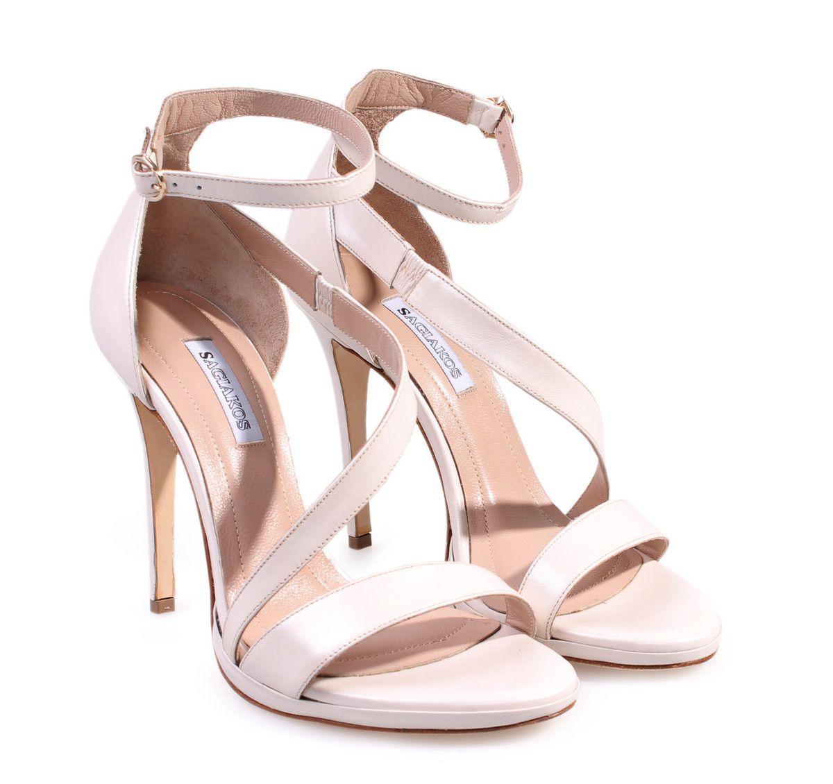8c4e2405663 SAGIAKOS Ivory Leather Bridal High-heeled Sandals. Γυναικεία ιβουάρ  δερμάτινα ψηλοτάκουνα νυφικά πέδιλα.