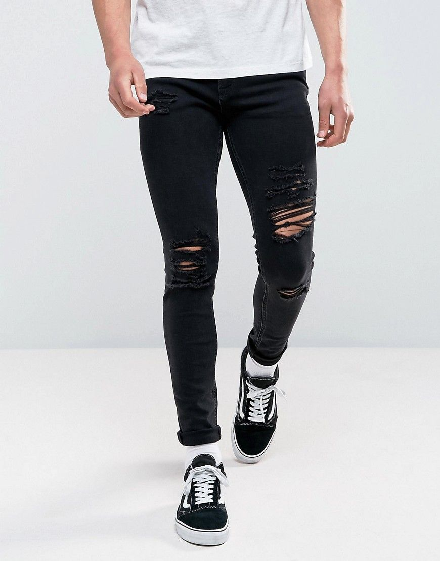 9f0af75f Jack & Jones Intelligence Jeans In Skinny Fit Ripped Black Denim - Bla