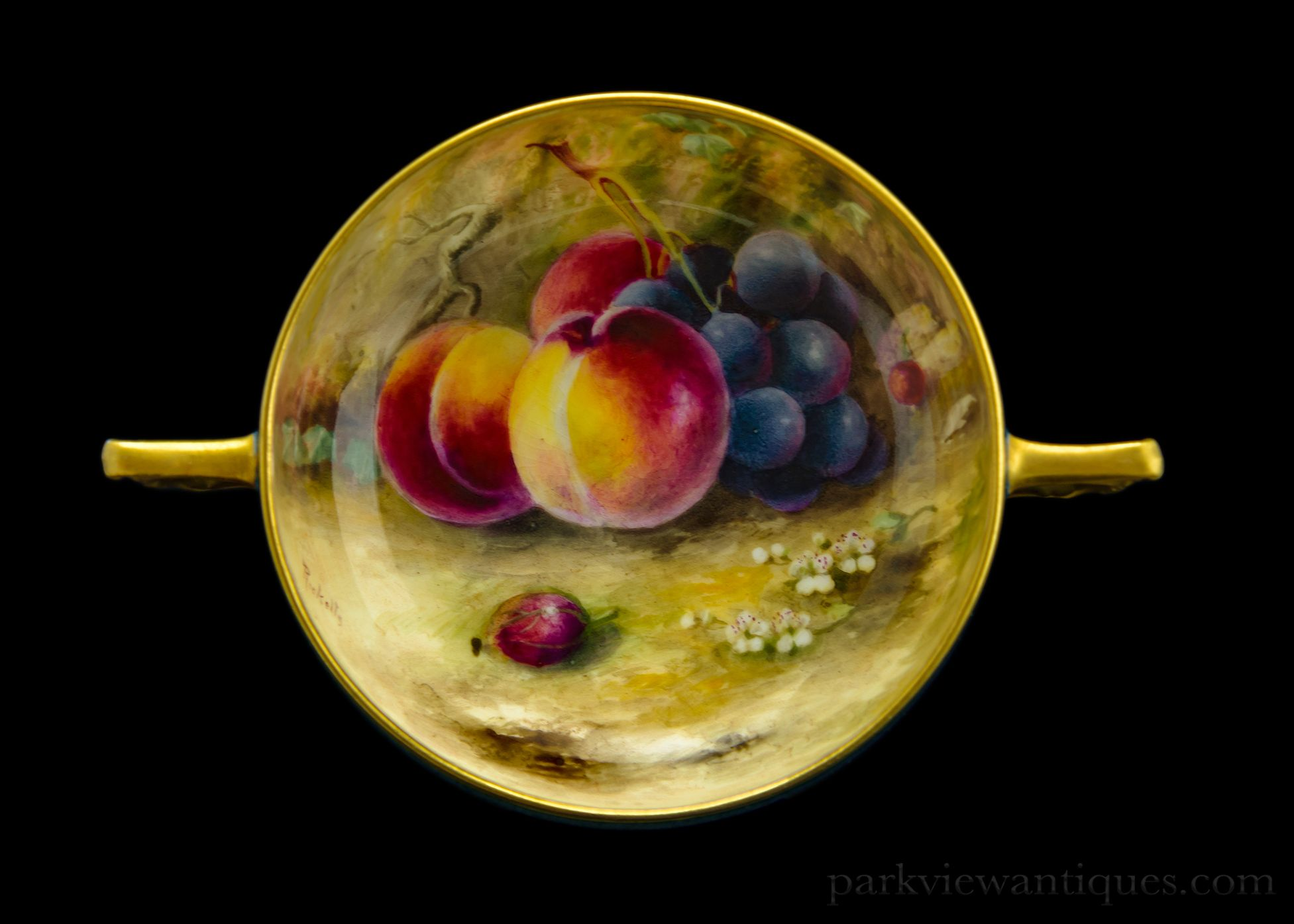 Royal Worcester Fruit Painted Twin Handled Bowl/Dish by Ricketts C ...