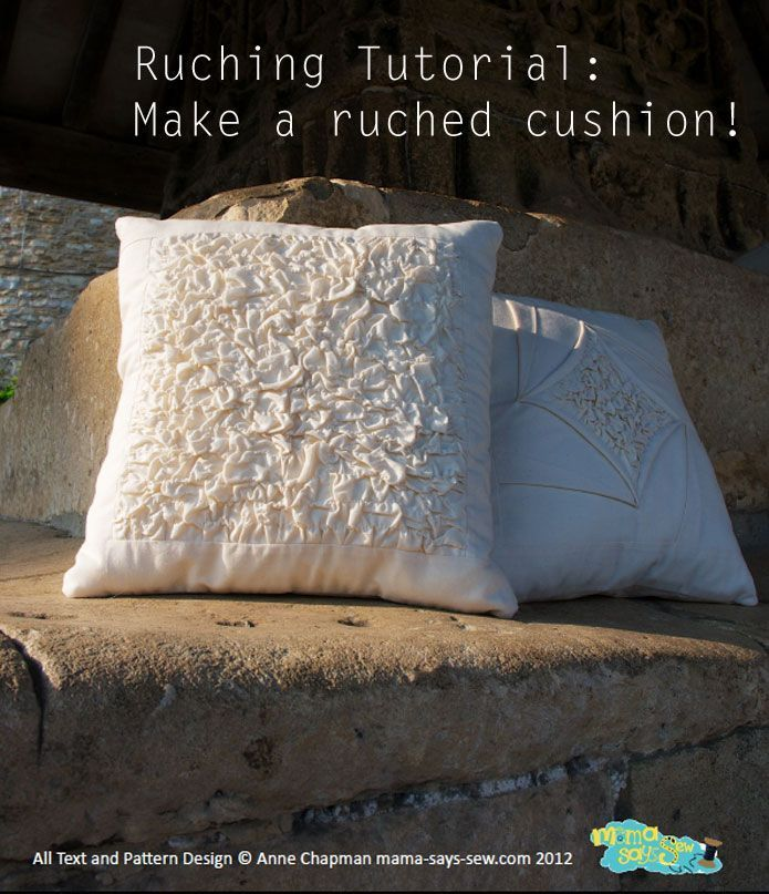 How to make a ruched cushion pillow - free tutorial at http://www.sewinlove.com.au/2013/12/06/ruching-tutorial-ruched-cushion-ギャザーのよせ方-guest-post/  To get 15% off my ebooks use this code: PINTEREST15