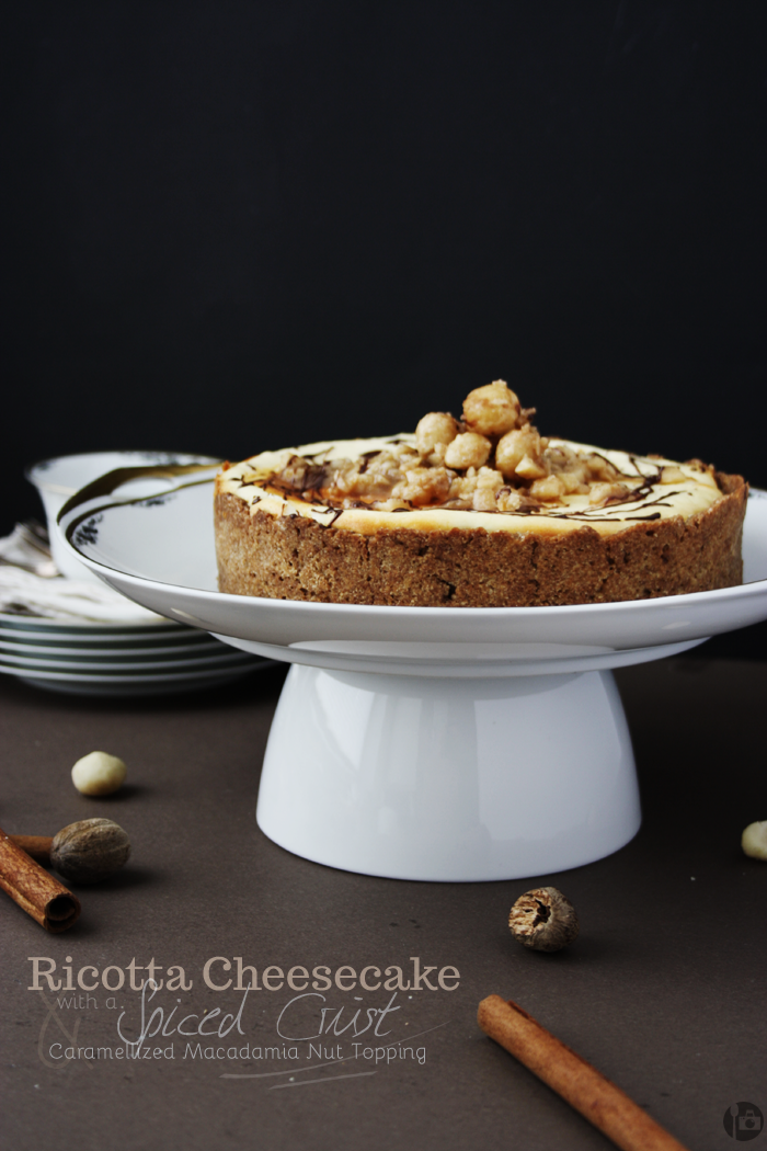 Ricotta Cheesecake with Spiced Crust and Caramellized Macadamia Nut Topping