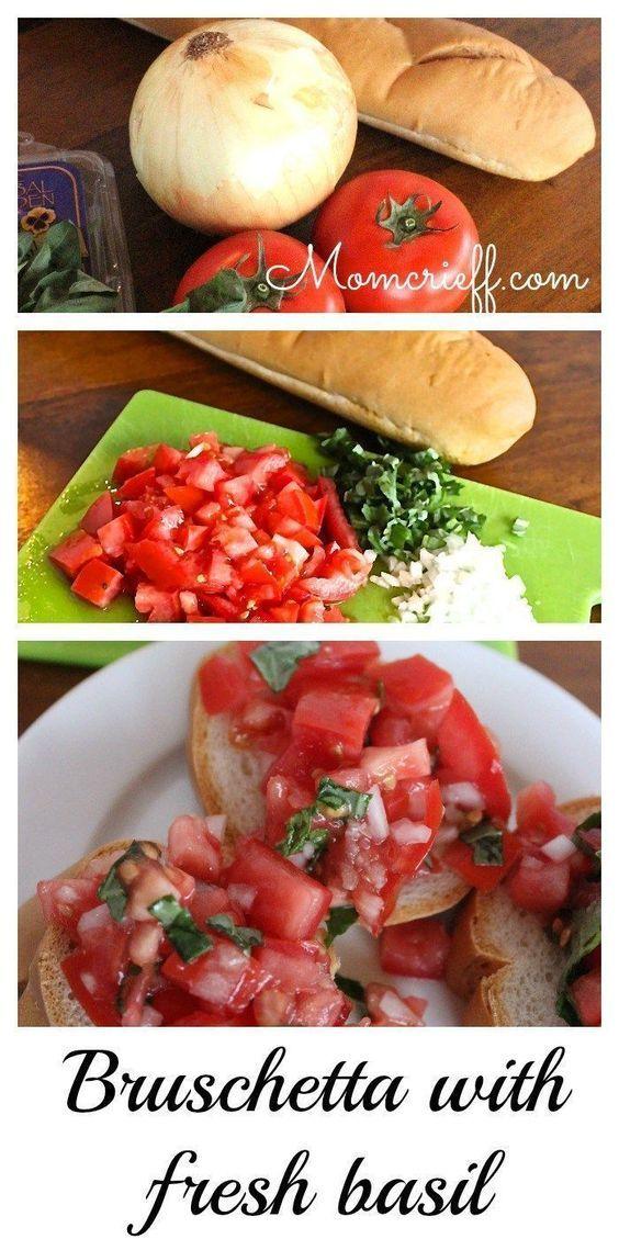 Bruschetta with Fresh Tomatos and Basil - Momcrieff