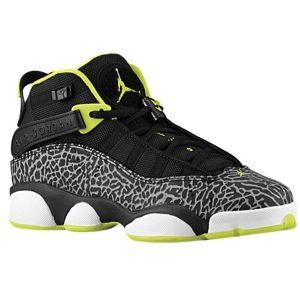online store 70bc3 eeed8 Jordan 6 Rings - Boys  Grade School - Black Venom Green White Cement Grey