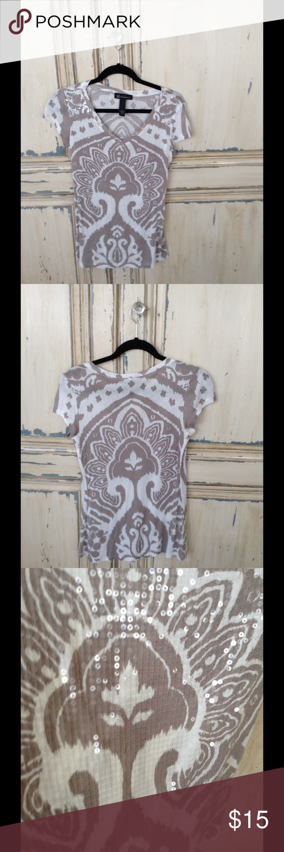 INC Top with sequins Inc taupe and white top, pullover stretchy with sequins on front. Size L but fits like a 4-6. INC International Concepts Tops