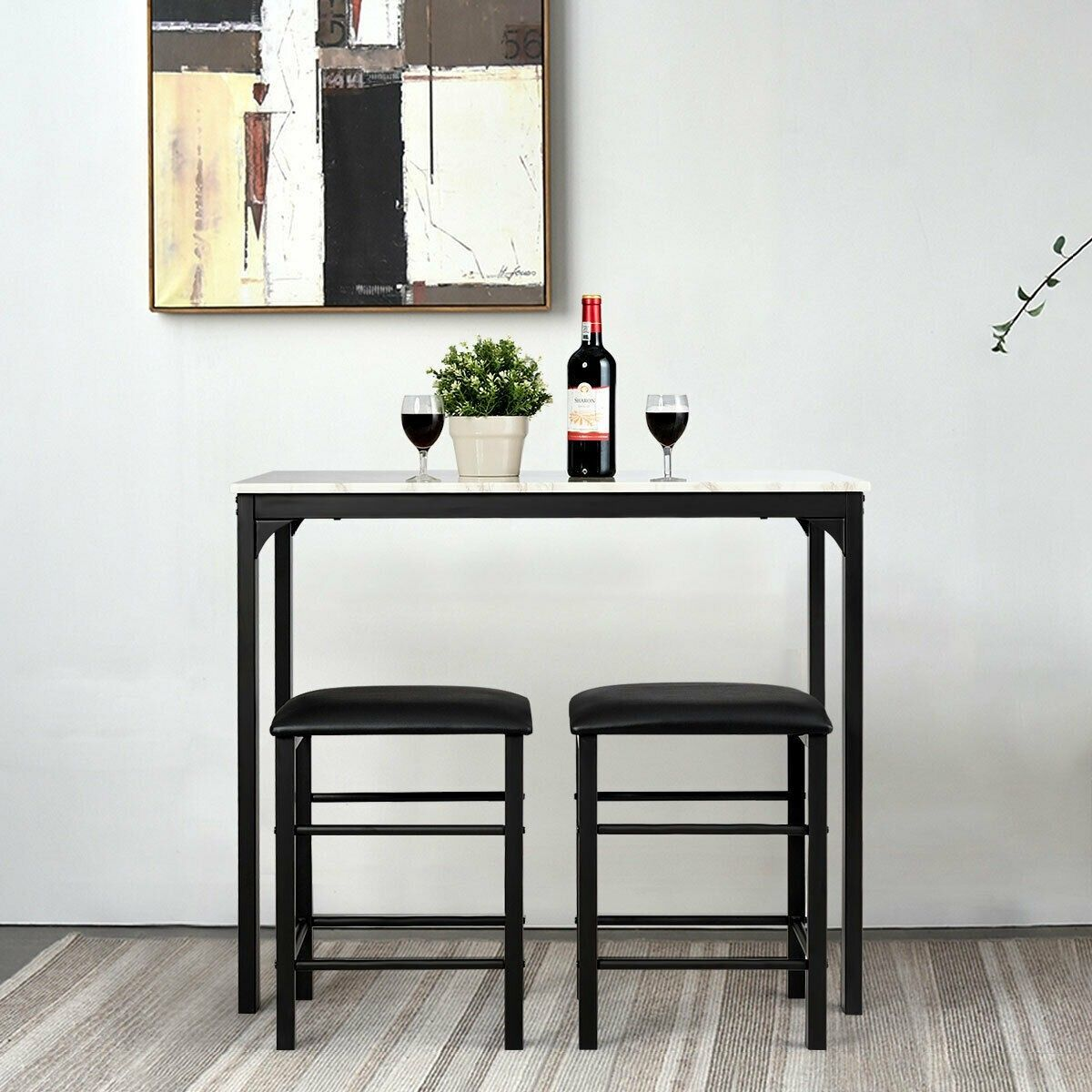 3 Pcs Counter Height Dining Set Faux Marble Table Counter Height Dining Sets Breakfast Nook Table Set Black Dining Room Furniture