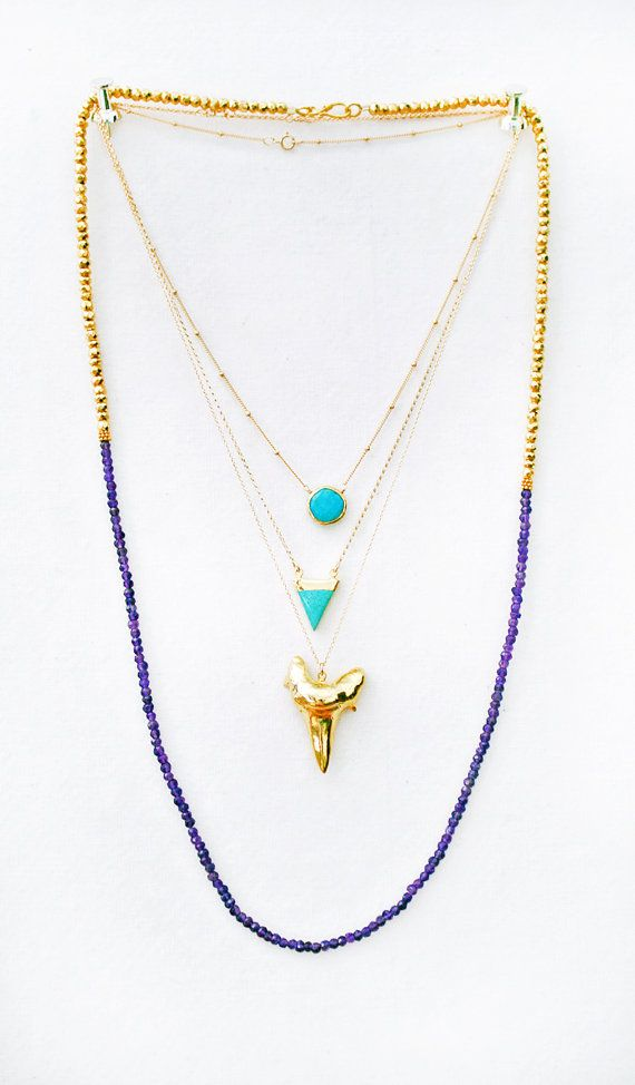 TURQUOISE coin bezel necklace