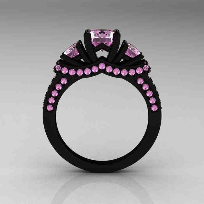 Black Engagement Ring With Pink Diamonds Black Gold Ring Pink Diamond Engagement Ring Black Gold Wedding Rings
