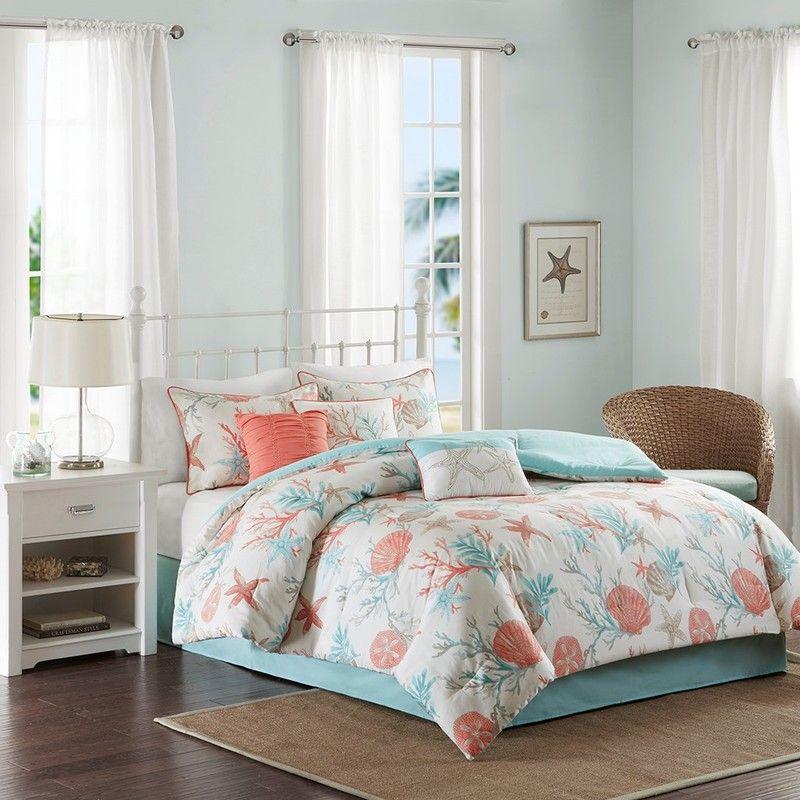 Coral Orange Turquoise 10 Coastal Room Ideas For Inspiration Beach Bedding Sets Comforter Sets Coastal Bedding Sets