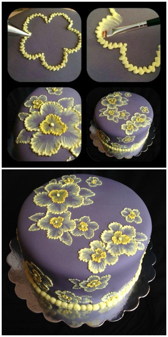Fleurs de gâteau de broderie au pinceau et idées de modèles   – Cake flowers