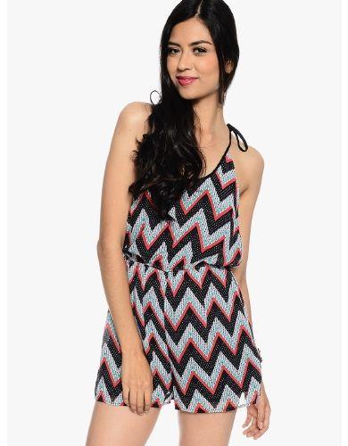Black Fun Chevron Print Romper | $12.50 | Cheap Trendy JumpsuitsRompers Chic Discount Fashion for W