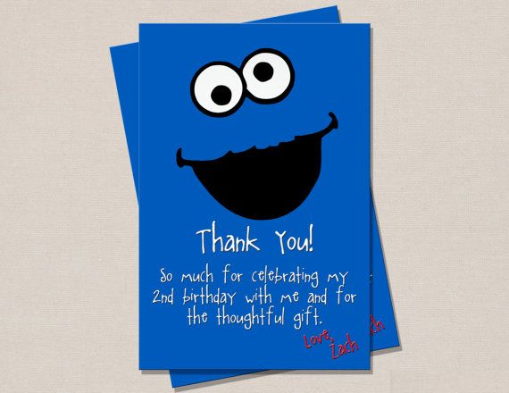 Cookie Monster Thank You Card By Perfectprintsstudio On Etsy 3 50 Monster Invitations Monster Cookies Cookie Monster Birthday