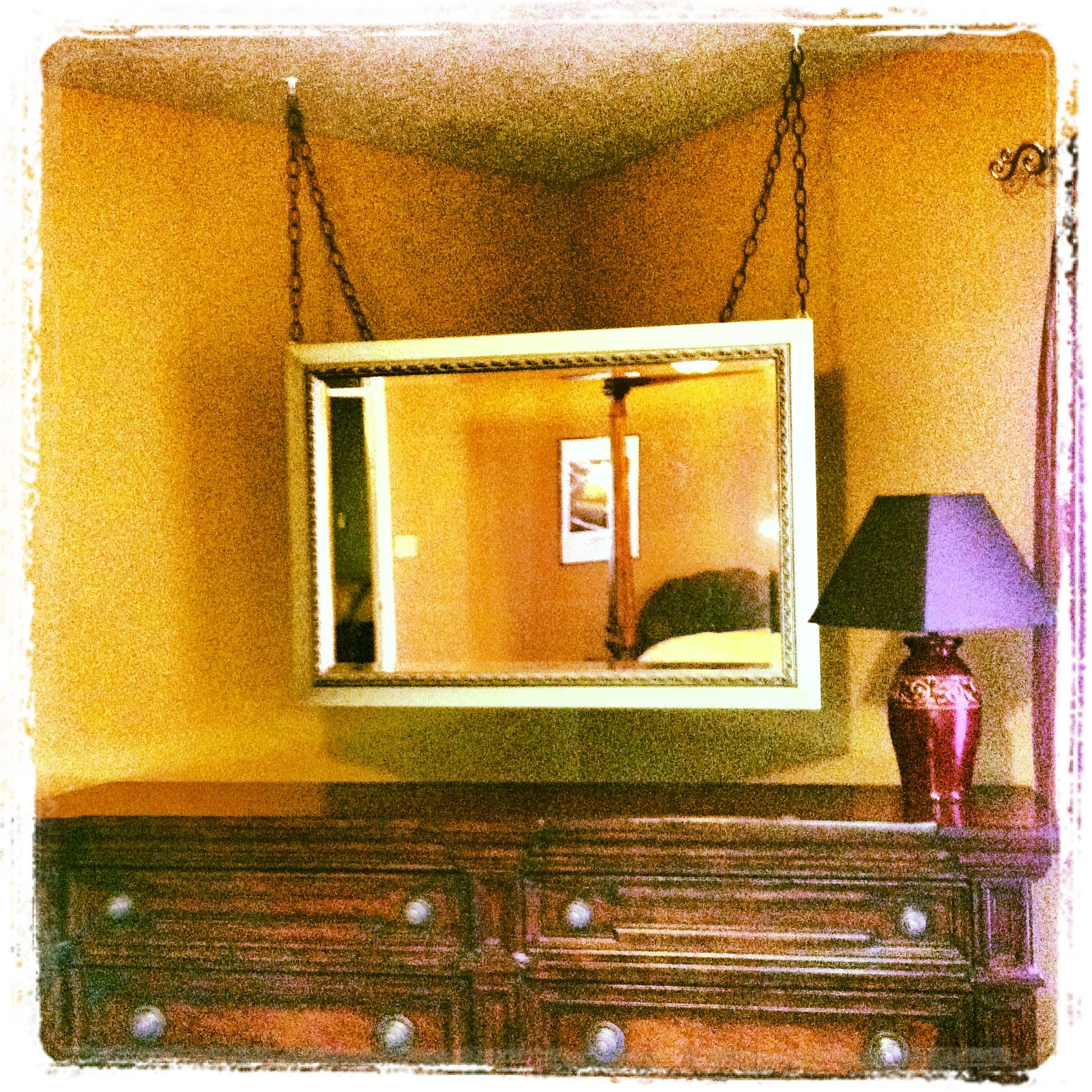 hanging mirror for dresser that was too big for any one wall and had to be put in the corner. Black Bedroom Furniture Sets. Home Design Ideas