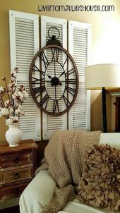 Photo of Artwork with Old Shutters – Make a focal point by layering old shutters from the…