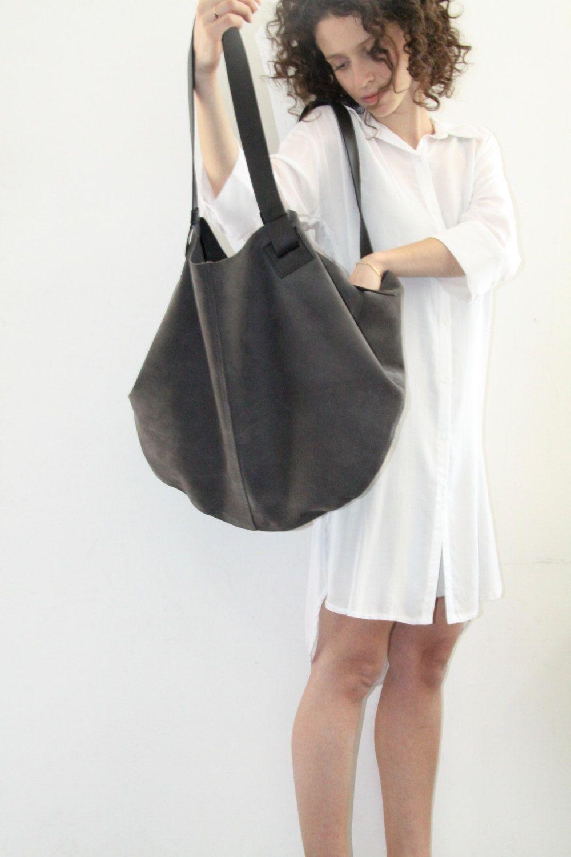bc6912feefbb Dark Grey Leather Tote Bag - Soft Leather Bag - Big Gray Nubuck Leather Bag  - Shoulder Bag - Over Size Bag - Carolina Bag