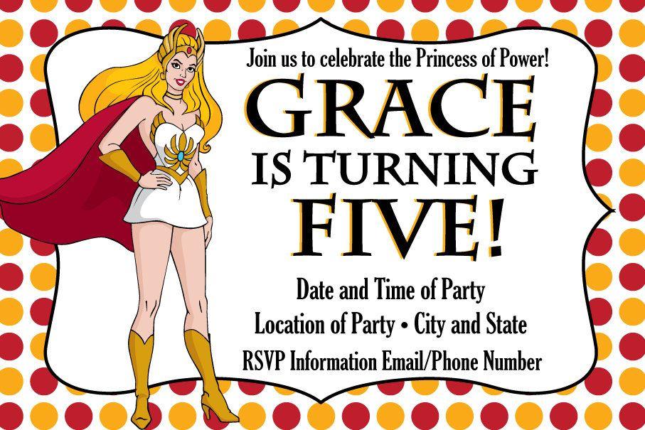 Custom Made She-Ra and He-Man Birthday Party Invitations | Men ...