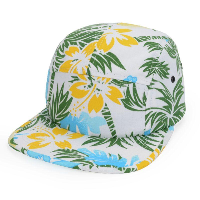 Tropical Print Hawaii Beach Snapback Hats Coconut Palm