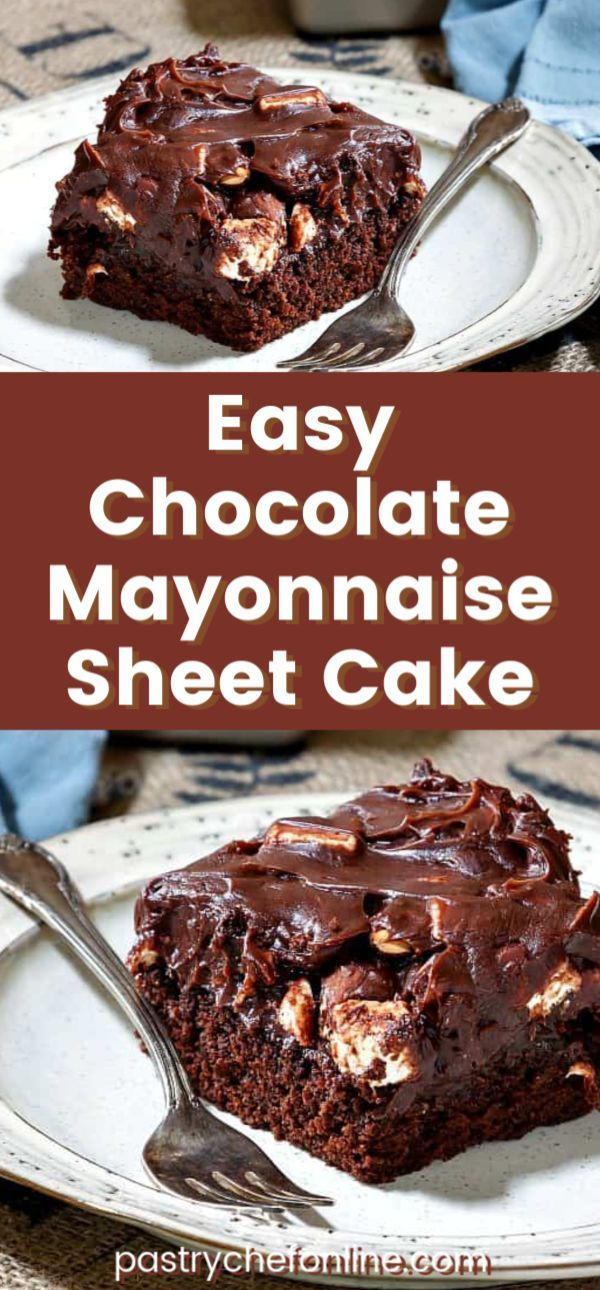 Everyone needs an easy chocolate cake recipe. This chocolate mayonnaise cake is about as easy as it gets! Keep it simple by baking it in a 9 x 13