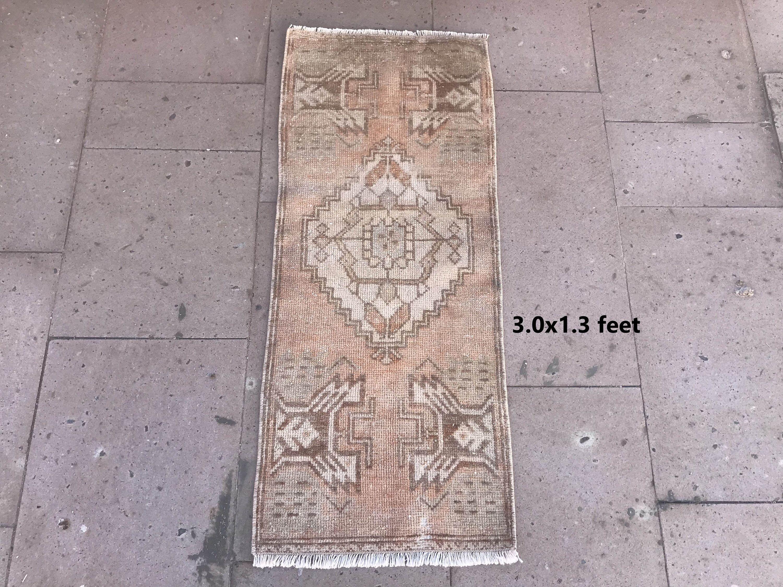 Turkish Rug, Vintage Rug,Small Rug  3'0x1'3 ft  Oushak Rug, Antique Rug, Etsy Rug,  Area Rug, Wool Rug, Organic Rug, Home Decor Rug #1199 ,  #30x13 #Antique #antiqueRugsblue #area #Decor #Etsy #Home #organic #oushak #rug #RugSmall #turkish #vintage #wool