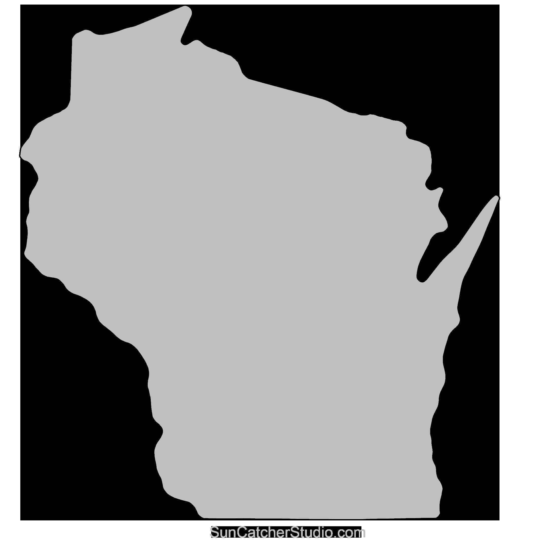 Wisconsin Outline Clip Art Pattern Printable Downloadable Stencil Shape Free Wisconsin Art Outline Art Map Outline