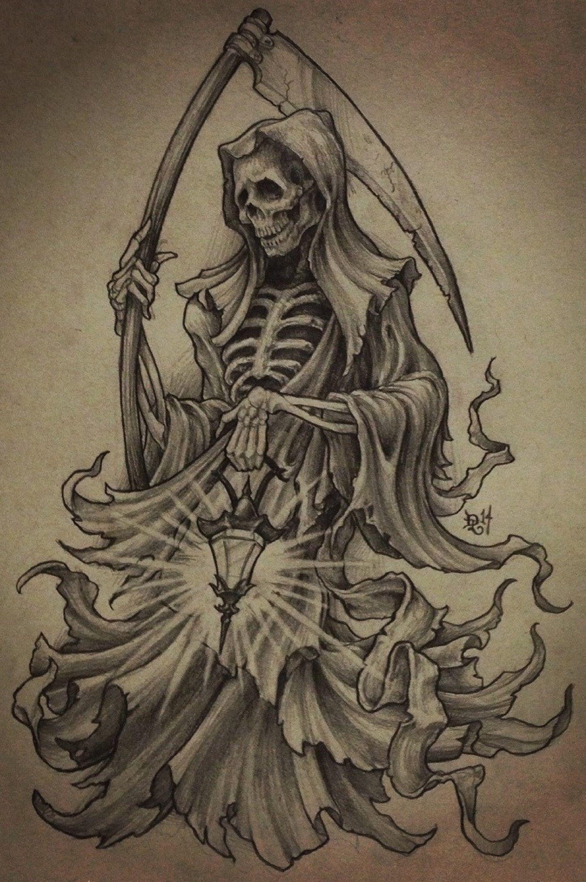 Poseidon Staff Tattoo: Reaper/clock Tattoo