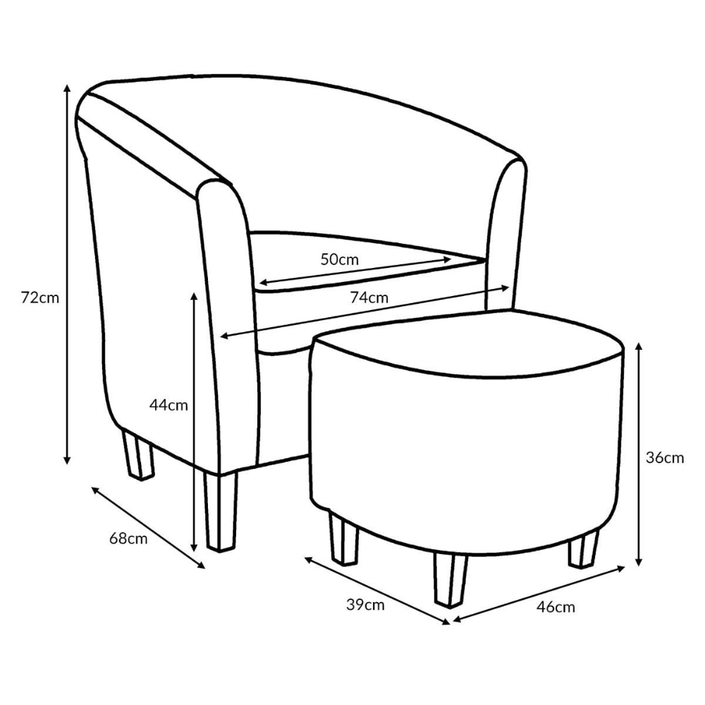 Tub Chair Stool Dimensions Office Feet Plan Height Meters