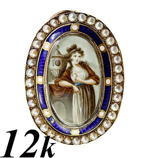 Antique Georgian Portrait Miniature, Mourning Pendant, A Young Girl, Dated 1700s  Photo credit: Antiques & Uncommon Treasure