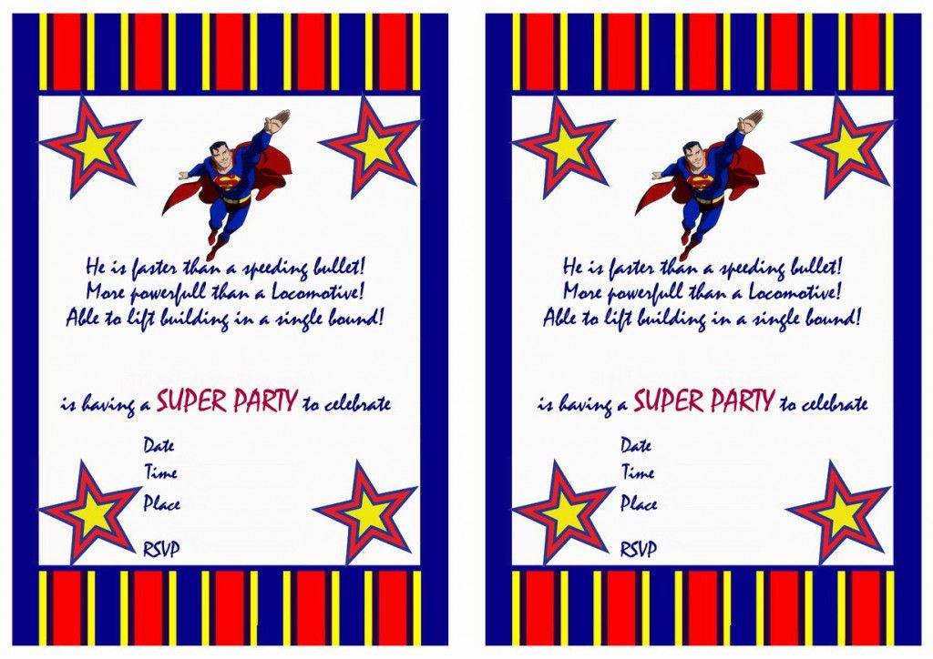 Superman Birthday Invitations Printable