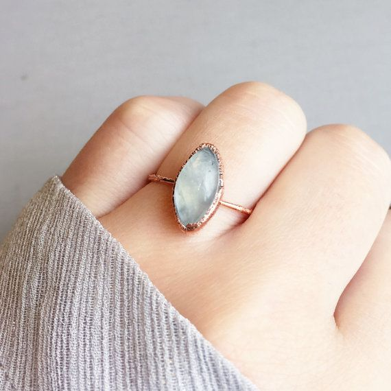 Marquise Moonstone Copper Ring Electroformed by TheScrapRabbit