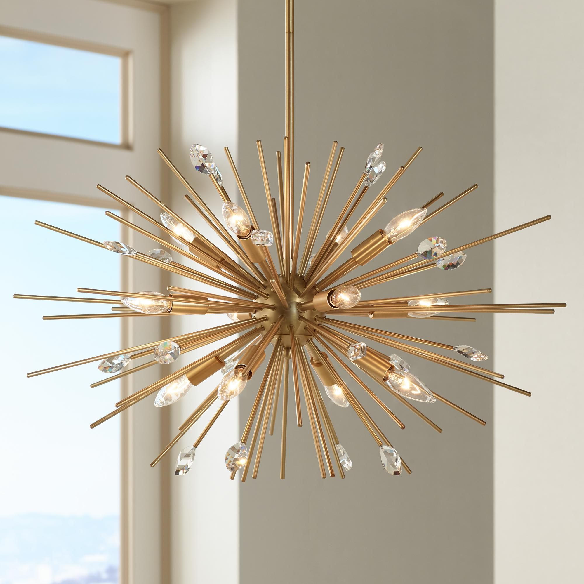 Quorum electra 8 light sputnik chandelier amp reviews wayfair - Possini Euro Renae 29 1 2 Wide Antique Gold Pendant Light 1f063