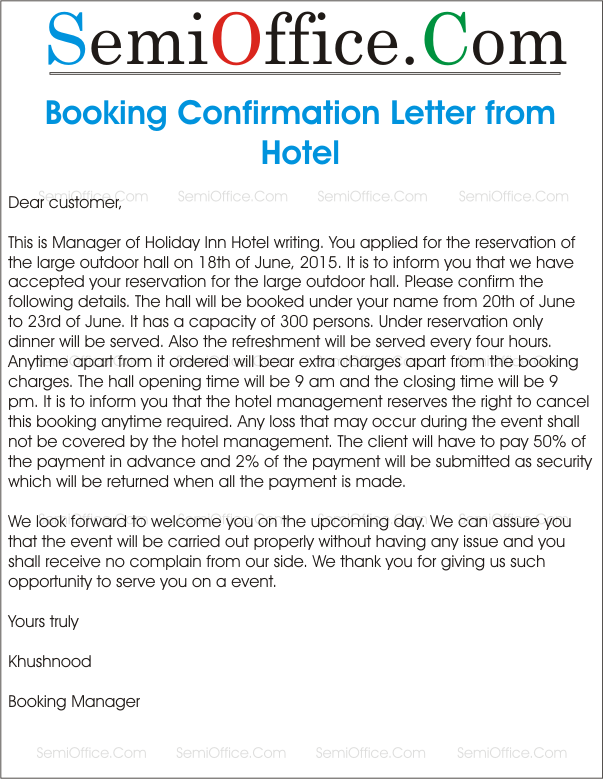 Sample letter for booking confirmation agreement bqt home design sample letter for booking confirmation about how write cancel hotel reservation best free home design idea inspiration spiritdancerdesigns Image collections