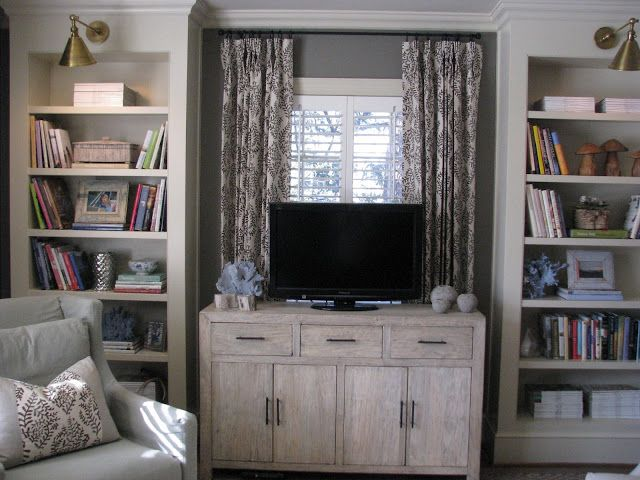 Tv Built Ins In Front Of Window Home Living Room Windows Family Living Rooms