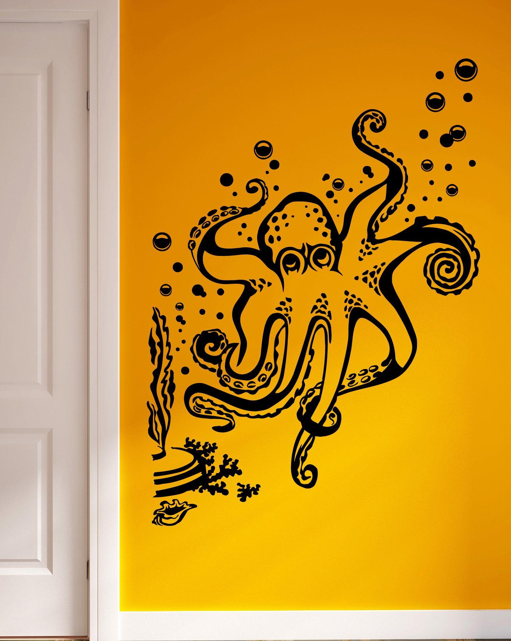 Amazon.com - Octopus Seaweed Bubbles Ocean Marine Sea Decor Wall Mural Vinyl Art Decal Sticker M490 -