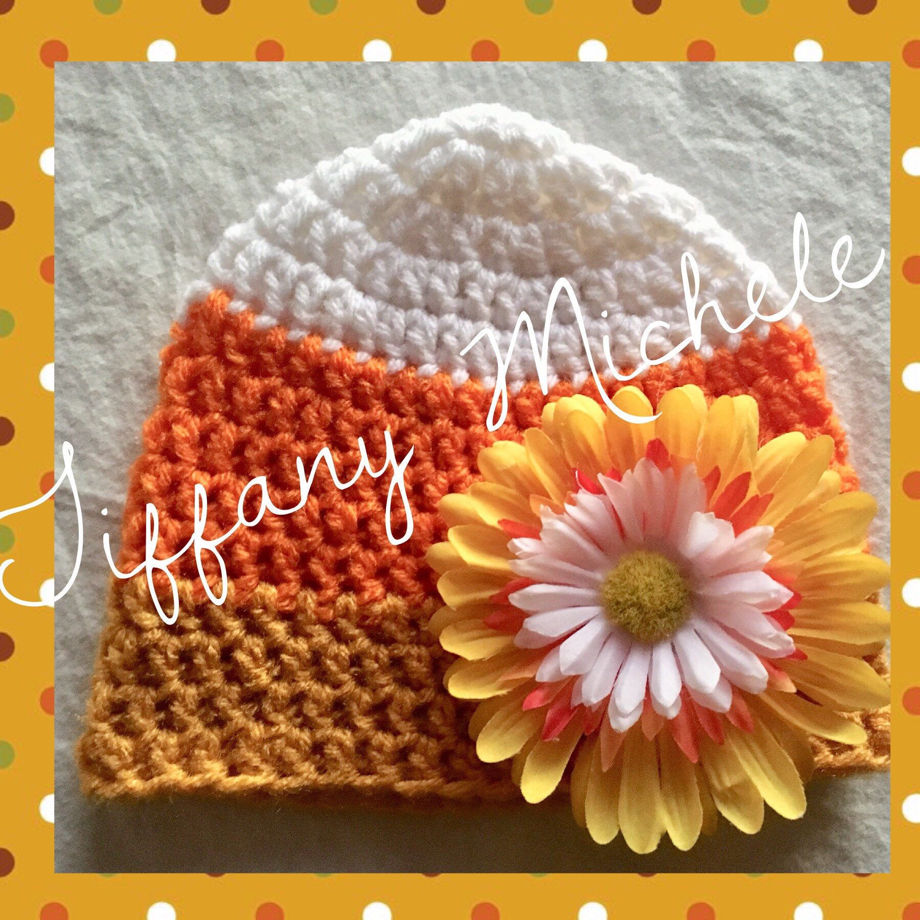 Newborn Candy Corn Crochet Fall Autumn Beanie Halloween