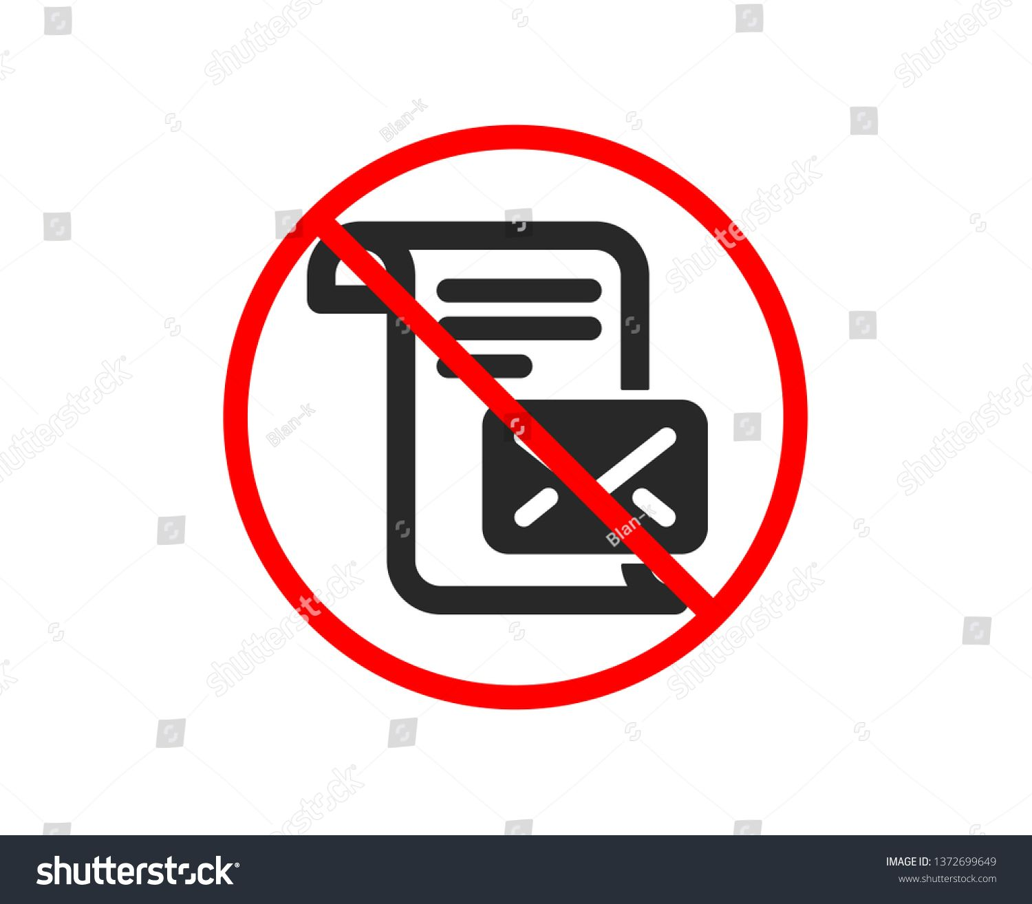 No Or Stop Mail Letter Icon Read Message Correspondence Sign E