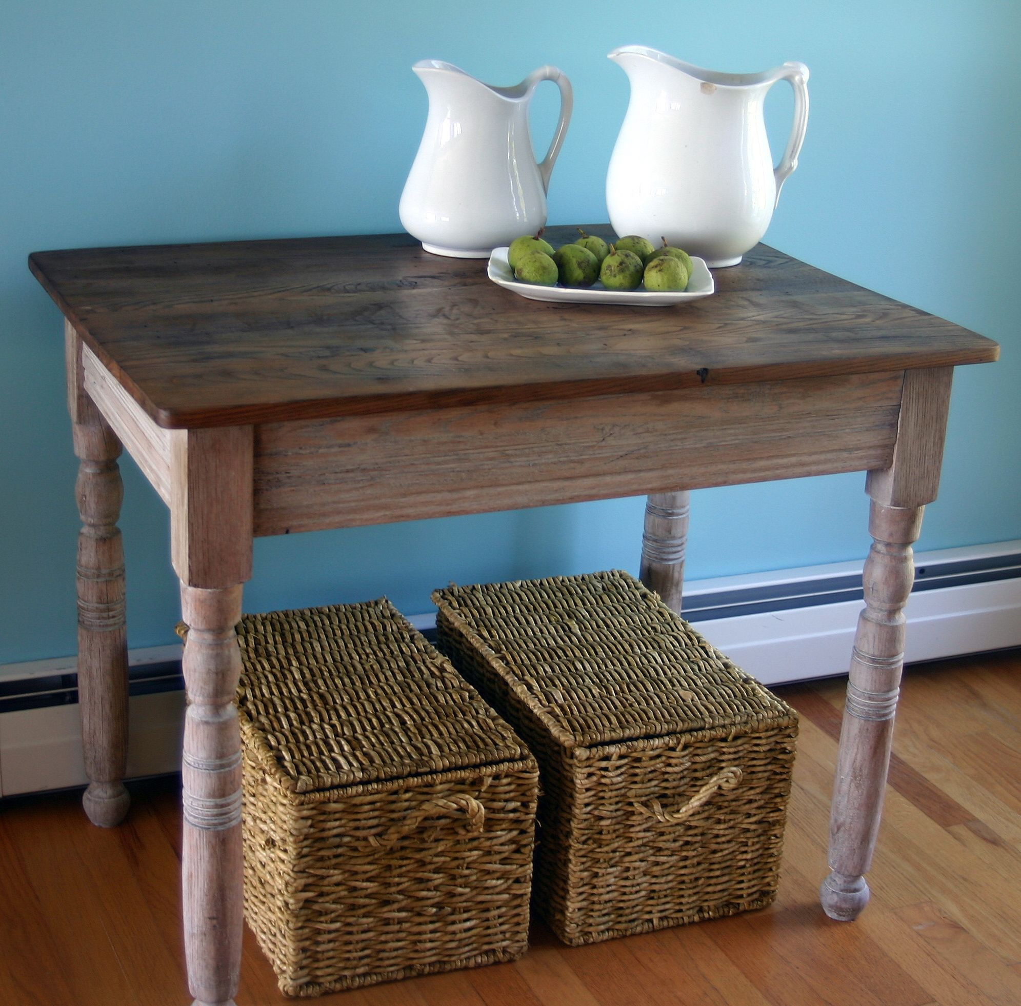 Delightful Small Farm Table Has A Refinished Top And A Base Painted In Annie Sloan Old  White