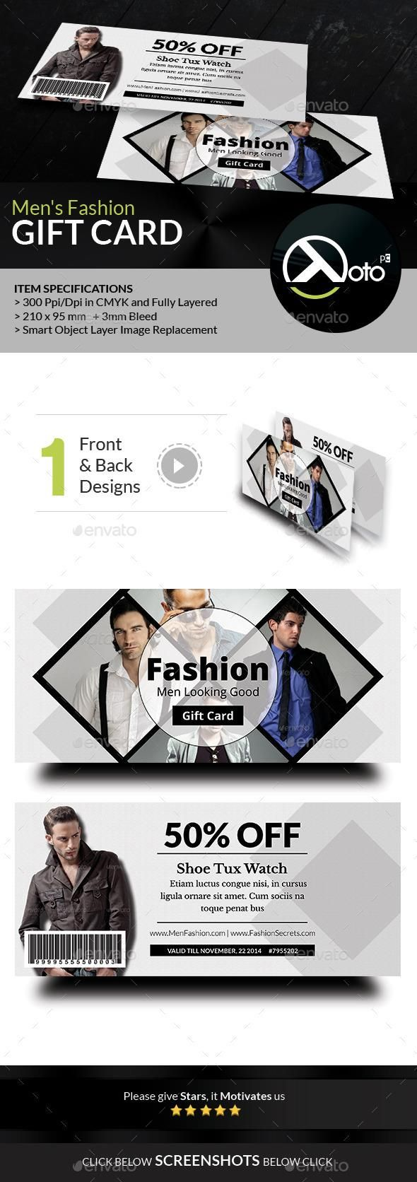 Men Fashion Style Clothing Gift Vouchers