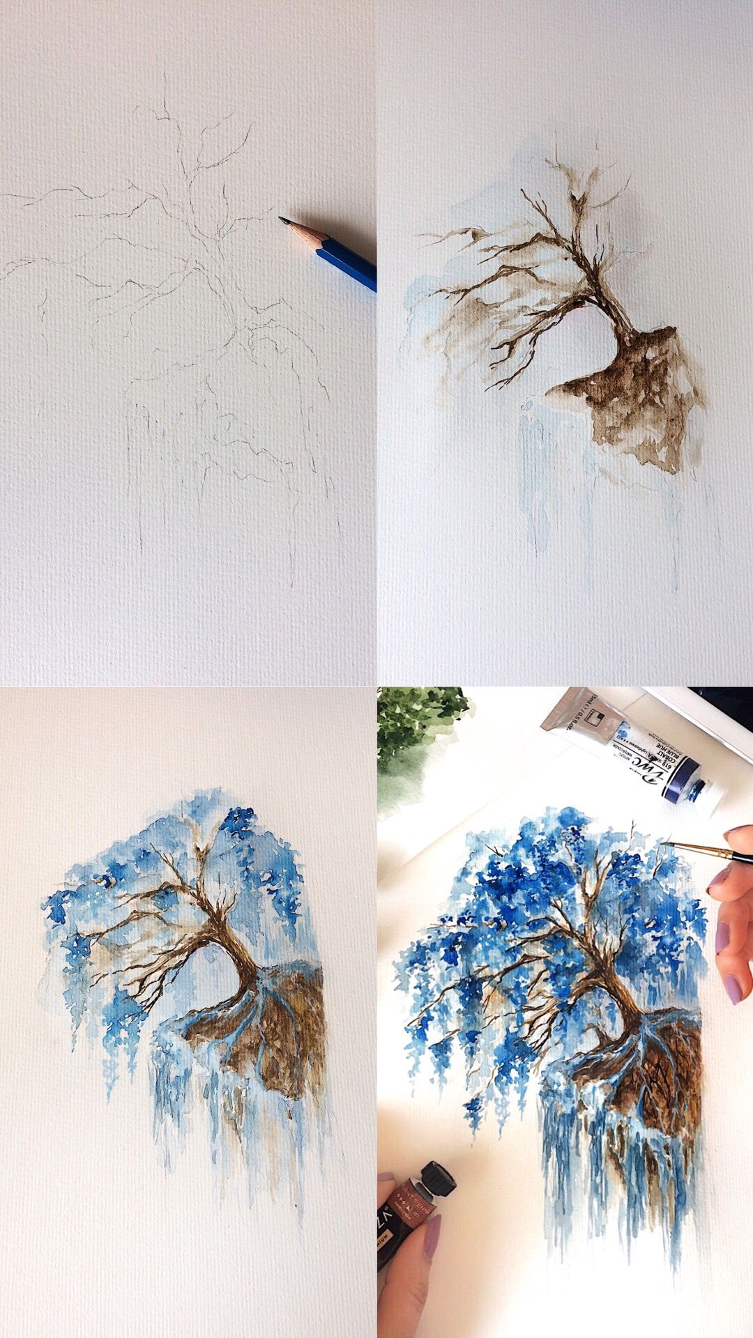 Tutorial Photos Of A Watercolor Wisteria Tree Painting Step By