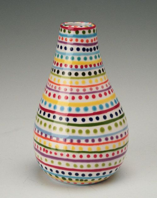 Stripes And Dots Hand Painted Pottery Pottery Painting Designs